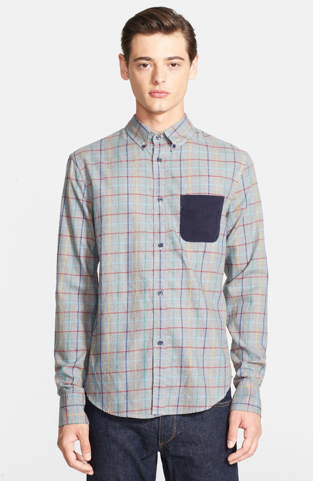 Alternate Image 1 Selected - Band of Outsiders Extra Trim Fit Check Sport Shirt