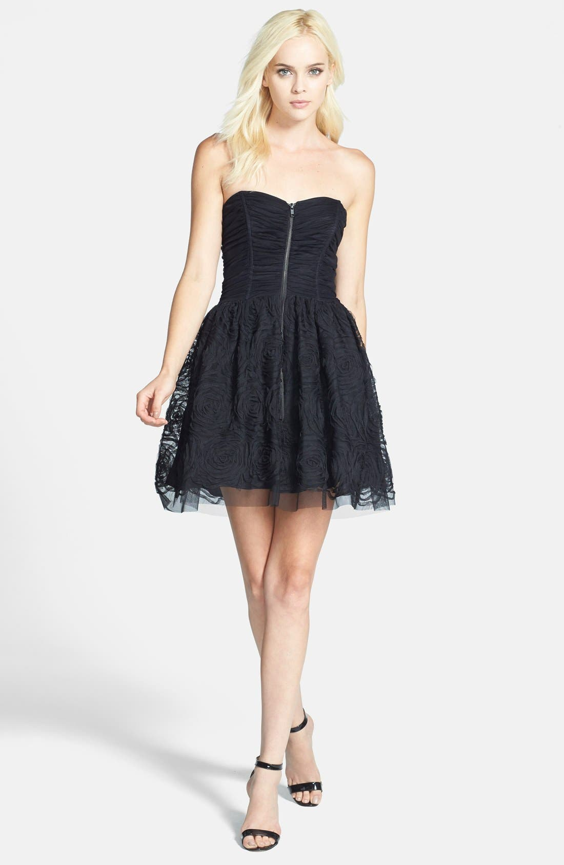 Alternate Image 3  - Betsy & Adam Zip Front Ruched Fit & Flare Dress