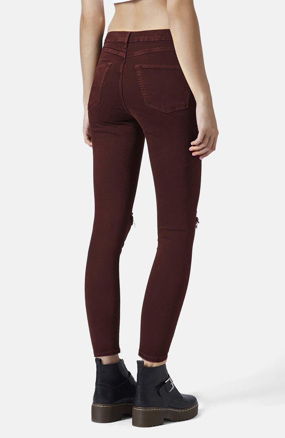 Alternate Image 2  - Topshop Moto 'Jamie' Ripped Jeans (Aubergine)
