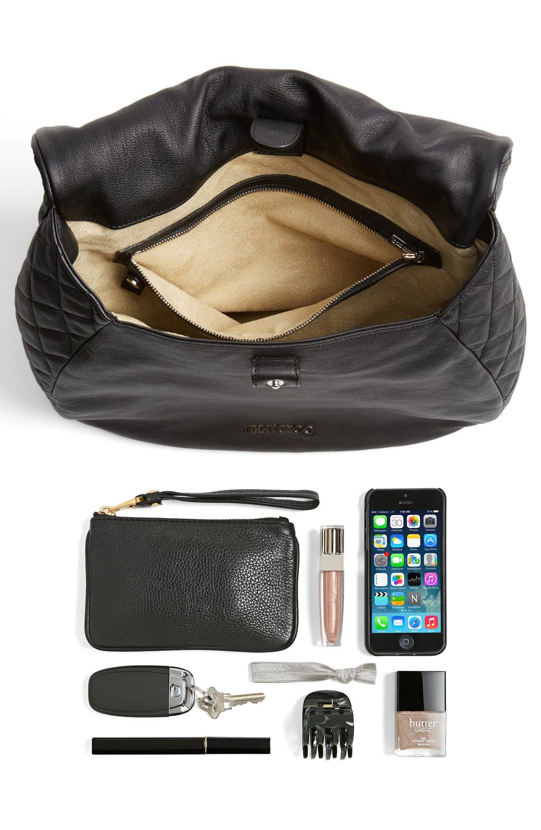 Alternate Image 5  - Jimmy Choo 'Becka Biker - Large' Leather Shoulder Bag