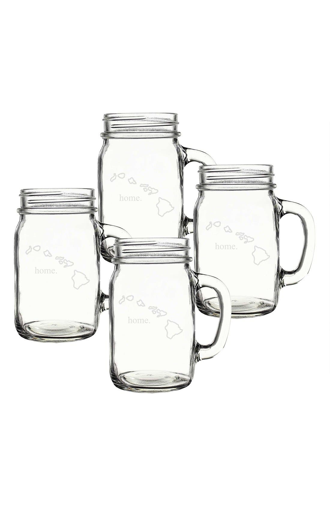 Cathy's Concepts 'Home State' Glass Drinking Jars with Handles (Set of 4)