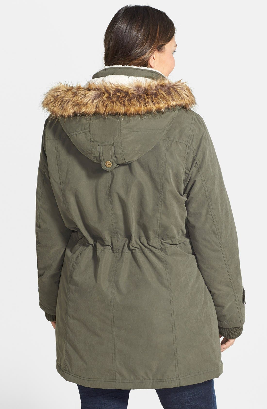 Alternate Image 2  - DKNY Faux Fur Trim Parka (Plus Size)