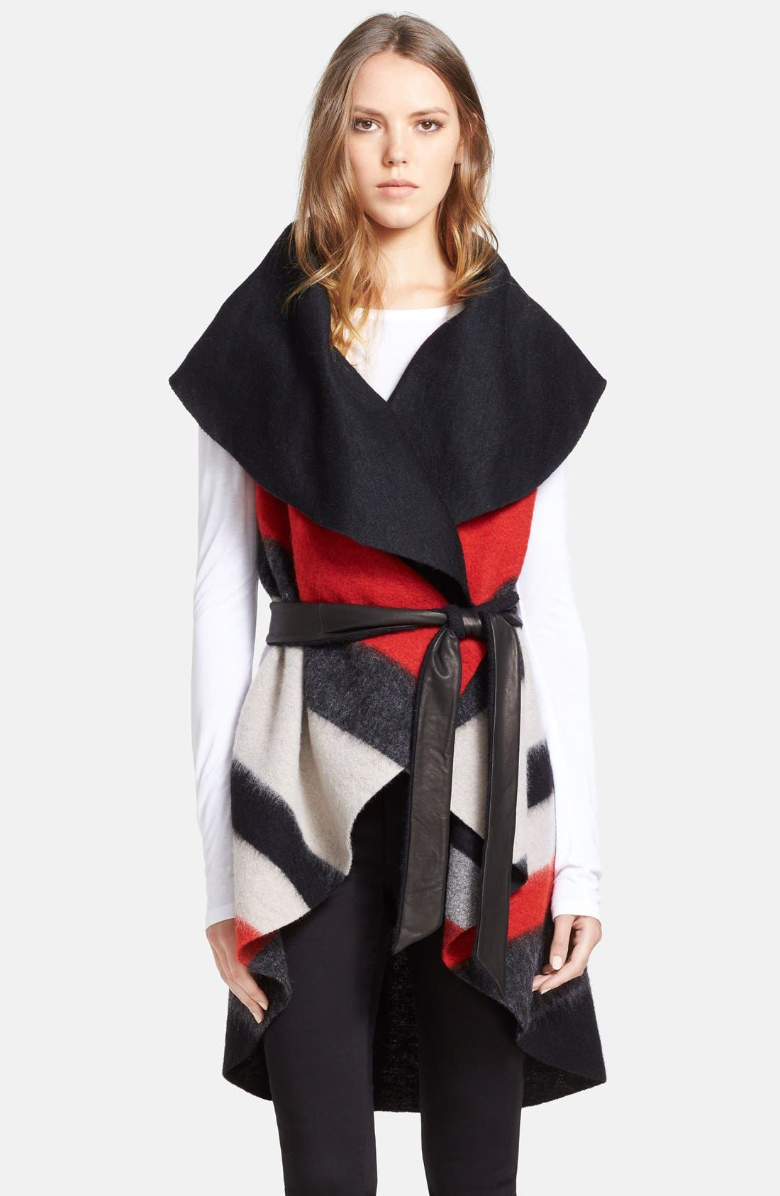 Alternate Image 3  - Alice + Olivia 'Keira' Sleeveless Wool Blend Wrap with Leather Belt