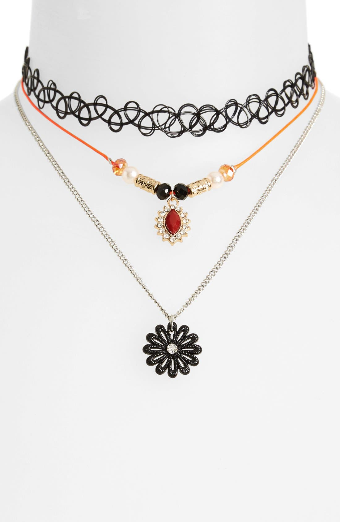 Alternate Image 1 Selected - Topshop Flower Charm Necklace (3-Pack)