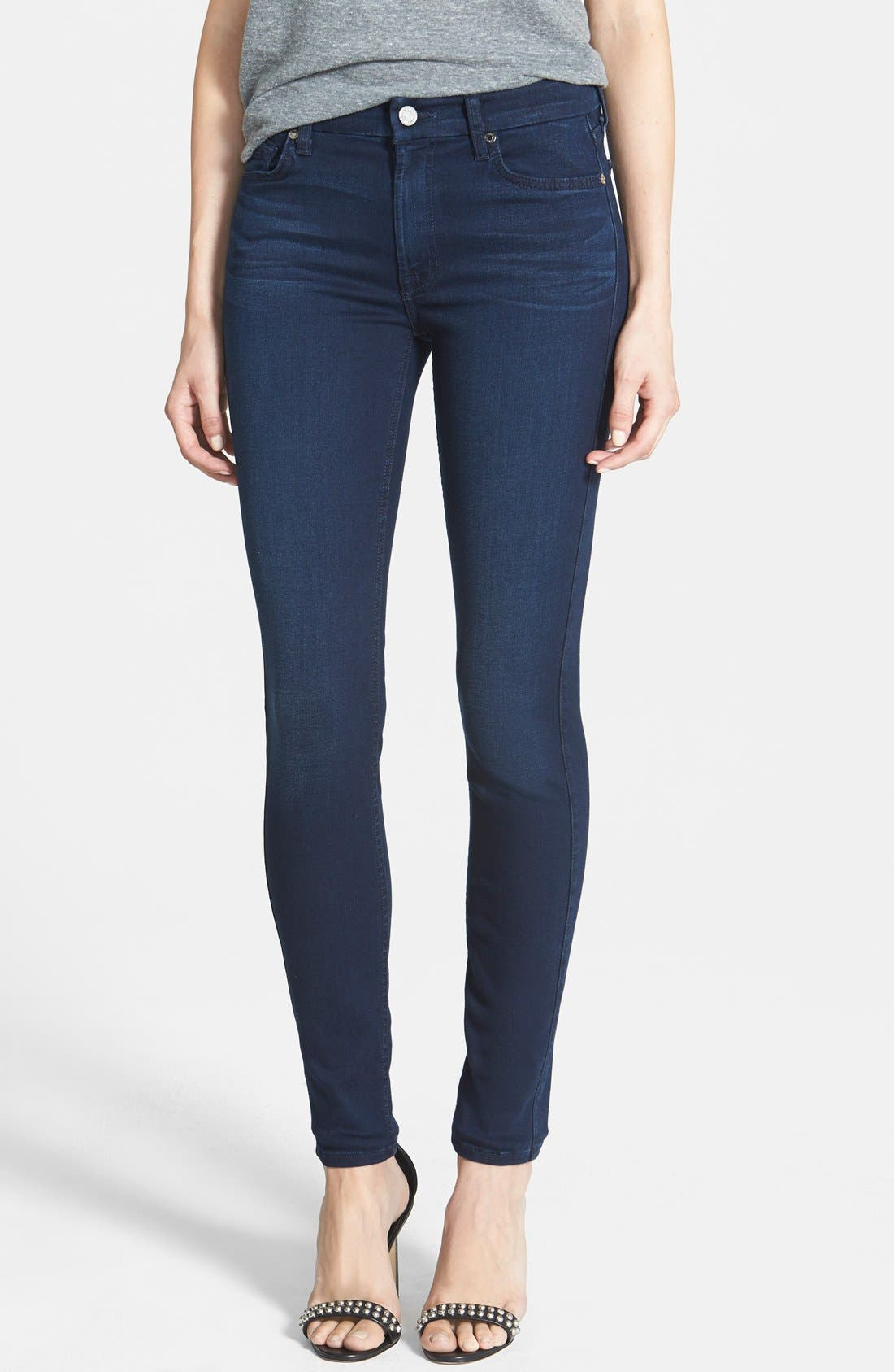 Main Image - 7 For All Mankind® 'Slim Illusion Luxe' Mid Rise Skinny Jeans (Rich Blue)