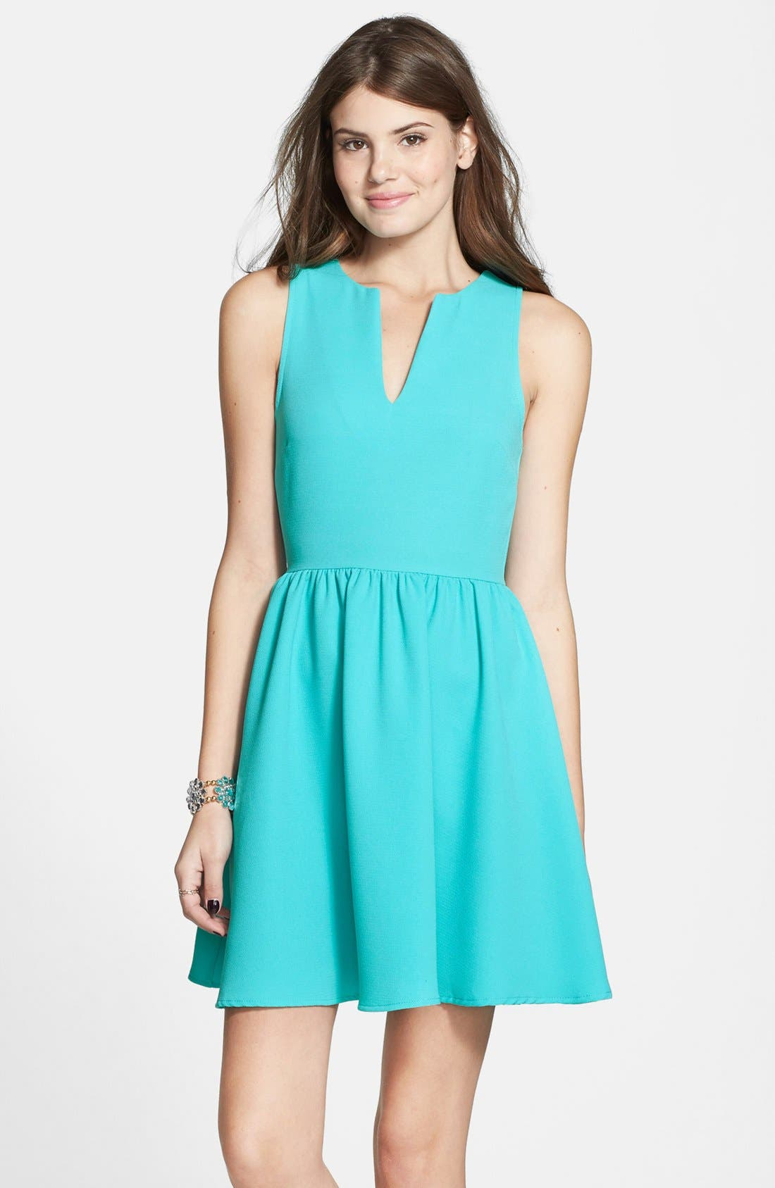 Alternate Image 1 Selected - Everly Notch Neck Skater Dress (Juniors)