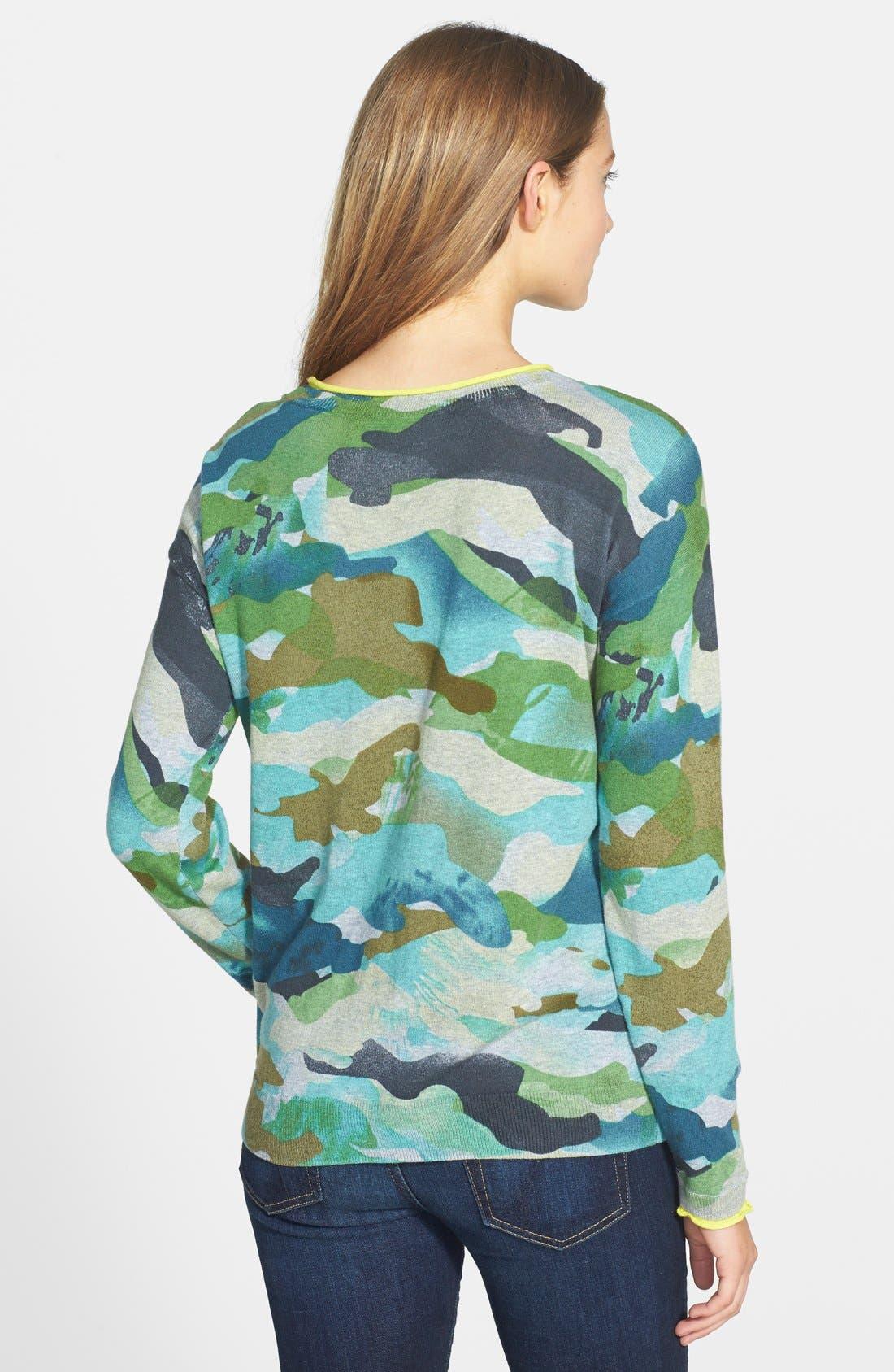 Alternate Image 2  - Two by Vince Camuto Contrast Trim Camo Print Sweater (Regular & Petite)