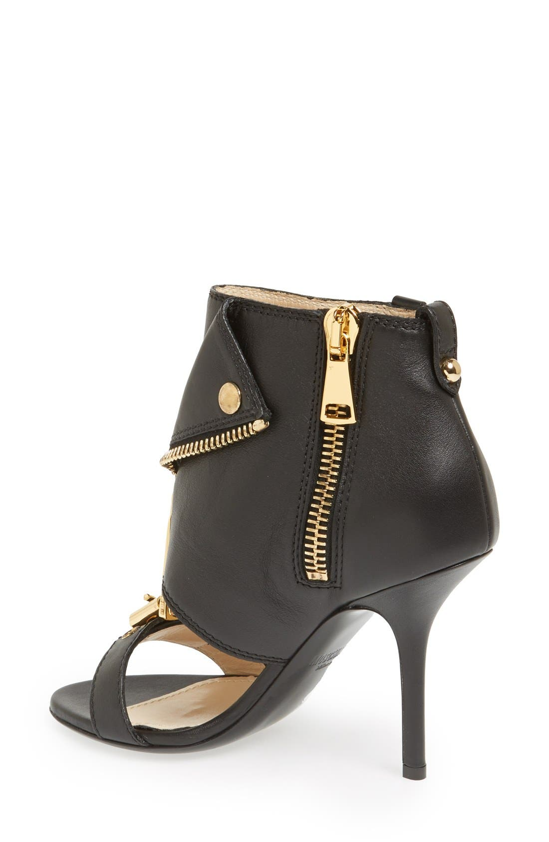 Alternate Image 2  - Moschino 'Moto Jacket' Italian Calfskin Sandal (Women)