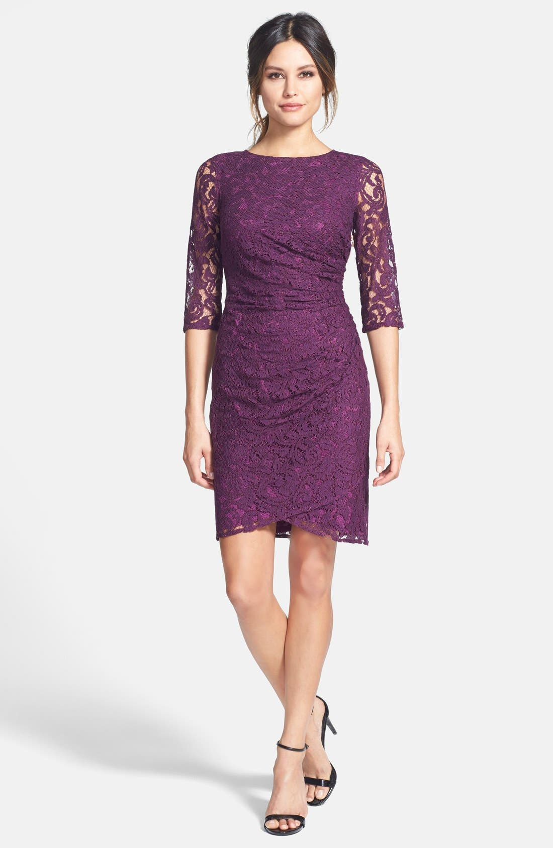 Alternate Image 3  - Adrianna Papell Zip Detail Ruched Lace Sheath Dress