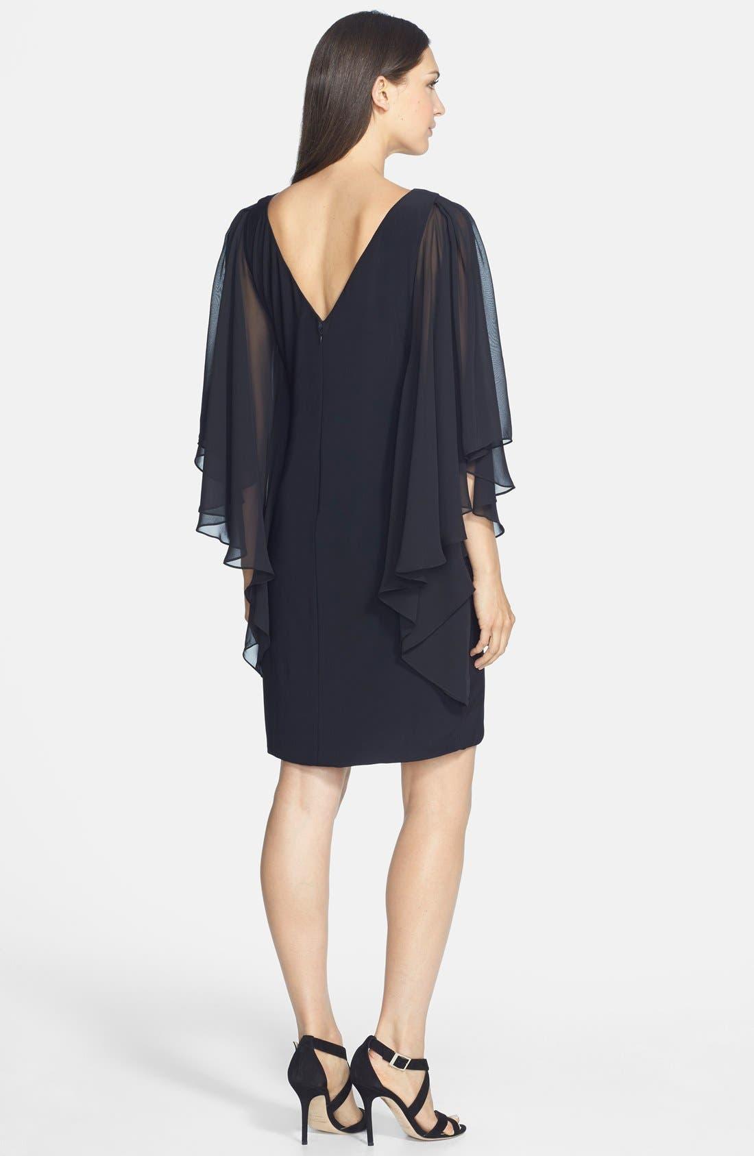 Alternate Image 2  - JS Boutique Chiffon Butterfly Sleeve Jersey Sheath Dress