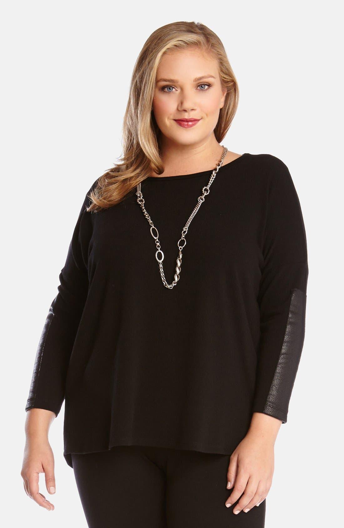 Main Image - Karen Kane Faux Leather Trim Sweater (Plus Size)
