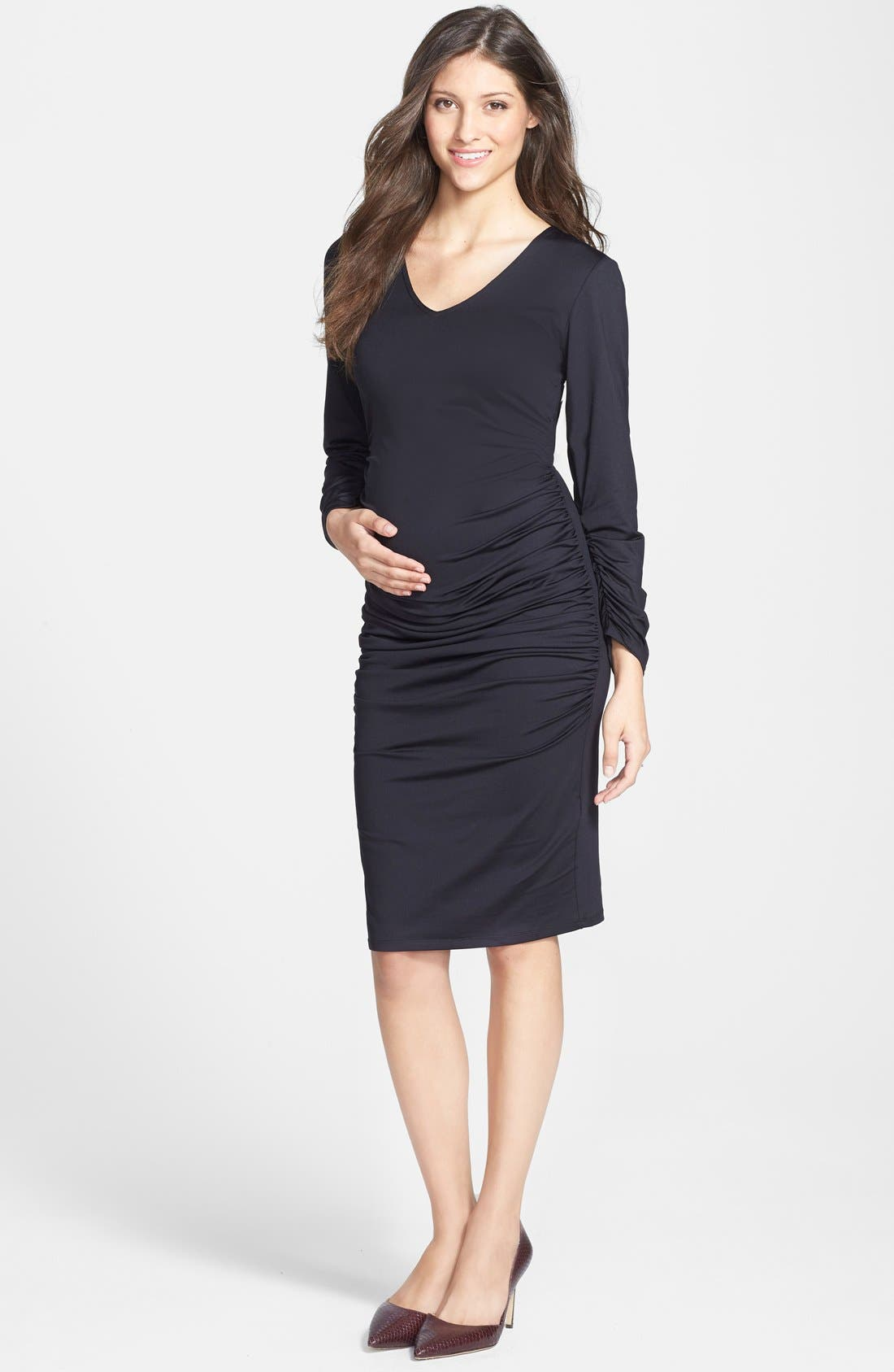 Alternate Image 1 Selected - Eva Alexander London Ruched Maternity Midi Dress