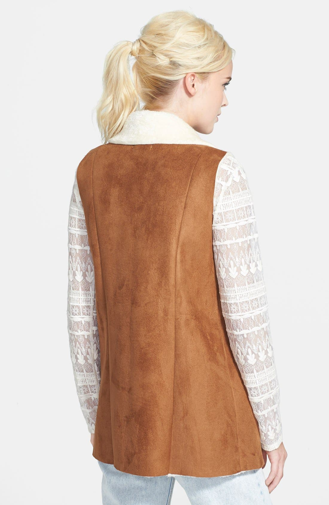 Alternate Image 2  - re:named Vegan Shearling Long Vest