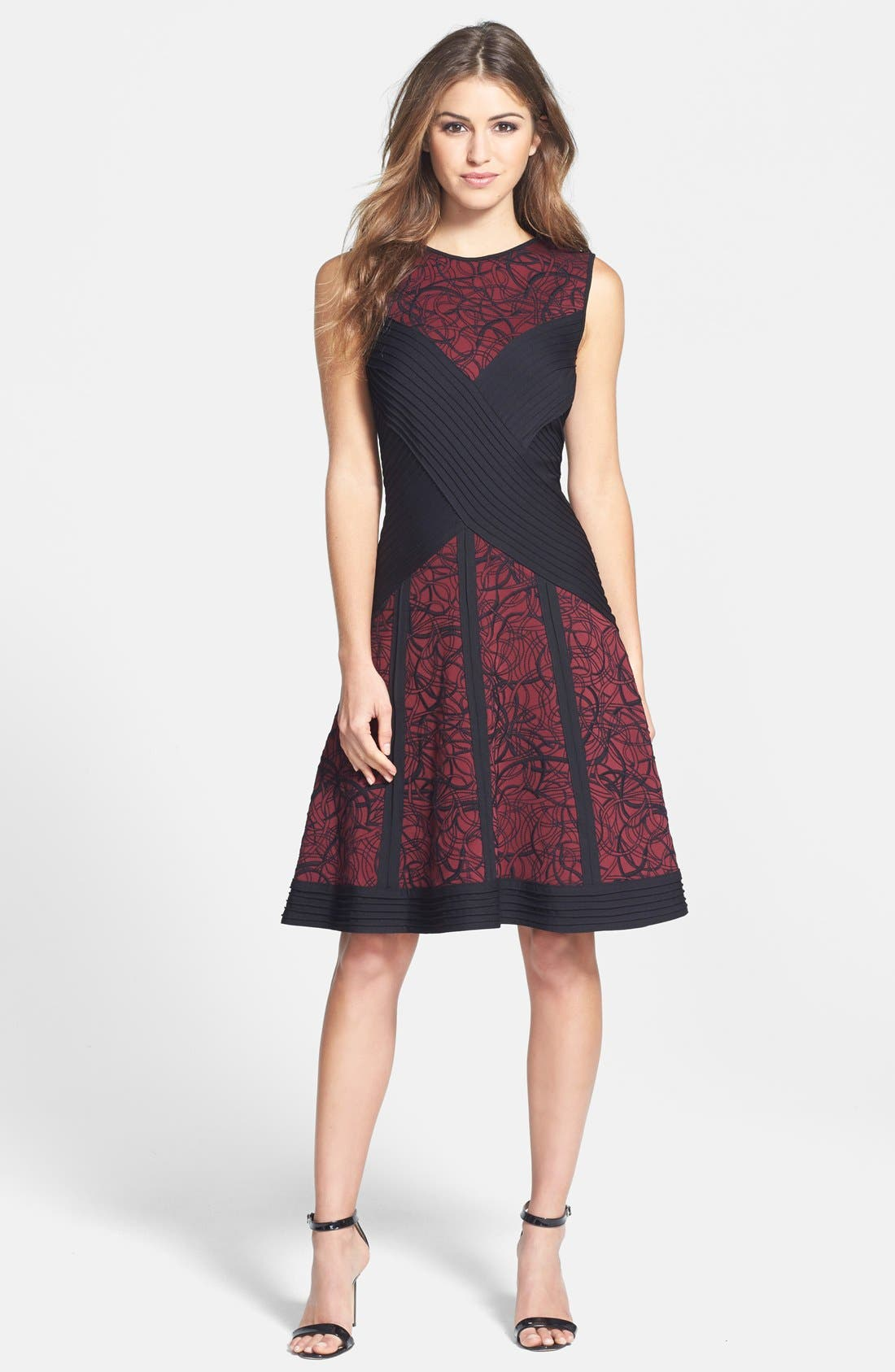 Alternate Image 3  - Tadashi Shoji Pintuck Embroidered Neoprene Fit & Flare Dress