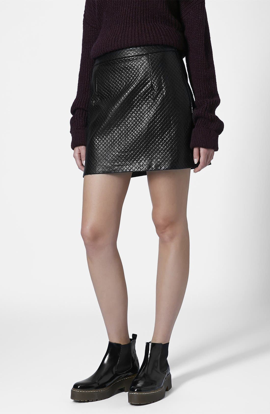 Main Image - Topshop Faux Leather A-Line Skirt