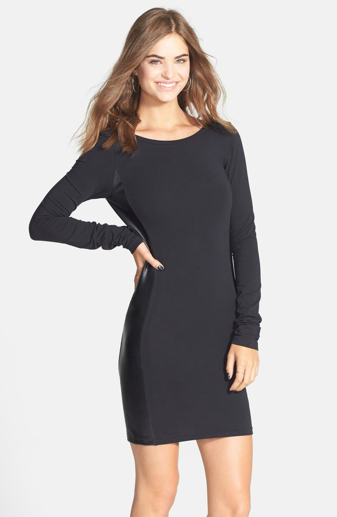 Main Image - Frenchi® Faux Leather Panel Body-Con Dress (Juniors)