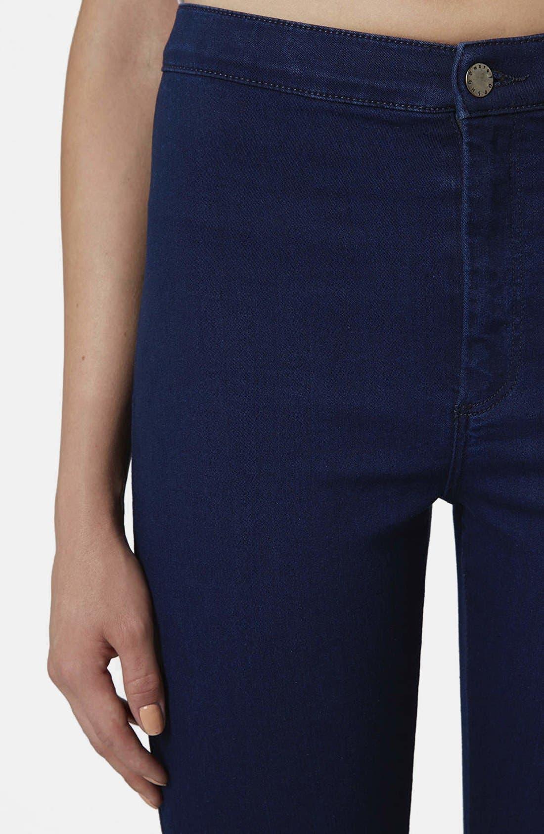 Alternate Image 4  - Topshop Moto 'Joni' High Waist Skinny Jeans (Blue)