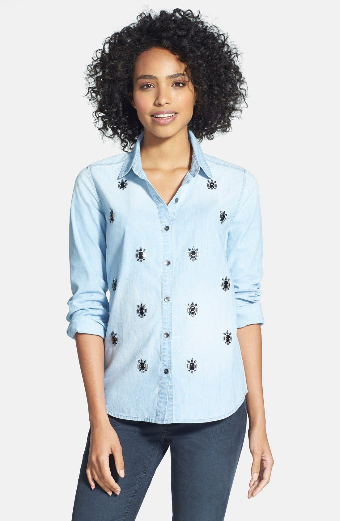 Alternate Image 1 Selected - Halogen® Embellished Denim Shirt (Regular & Petite)