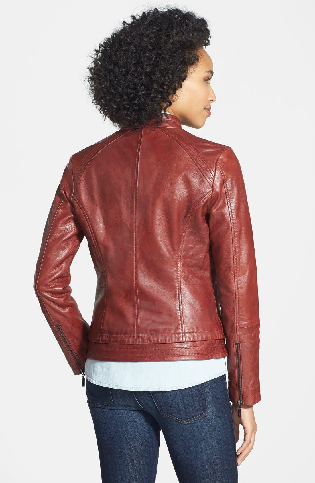 Alternate Image 2  - Bernardo Four-Pocket Leather Jacket (Regular & Petite)