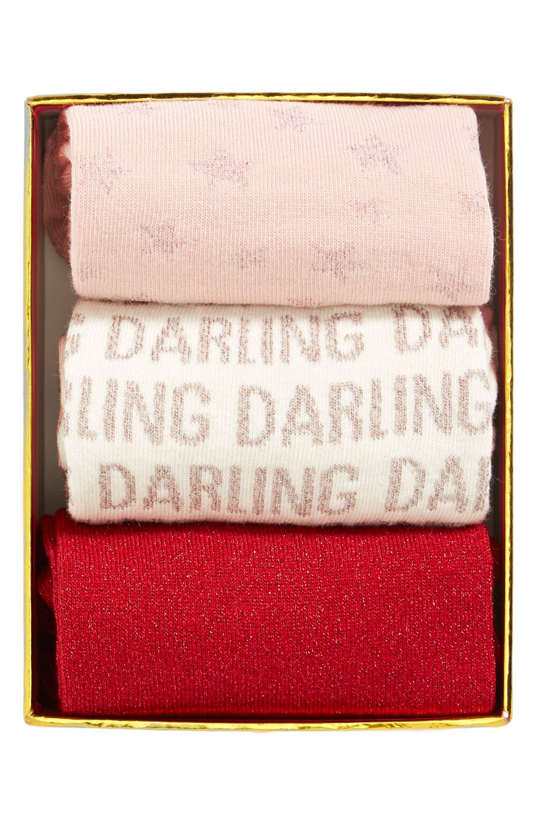 Main Image - kate spade new york 'day' boxed socks (3-Pack)