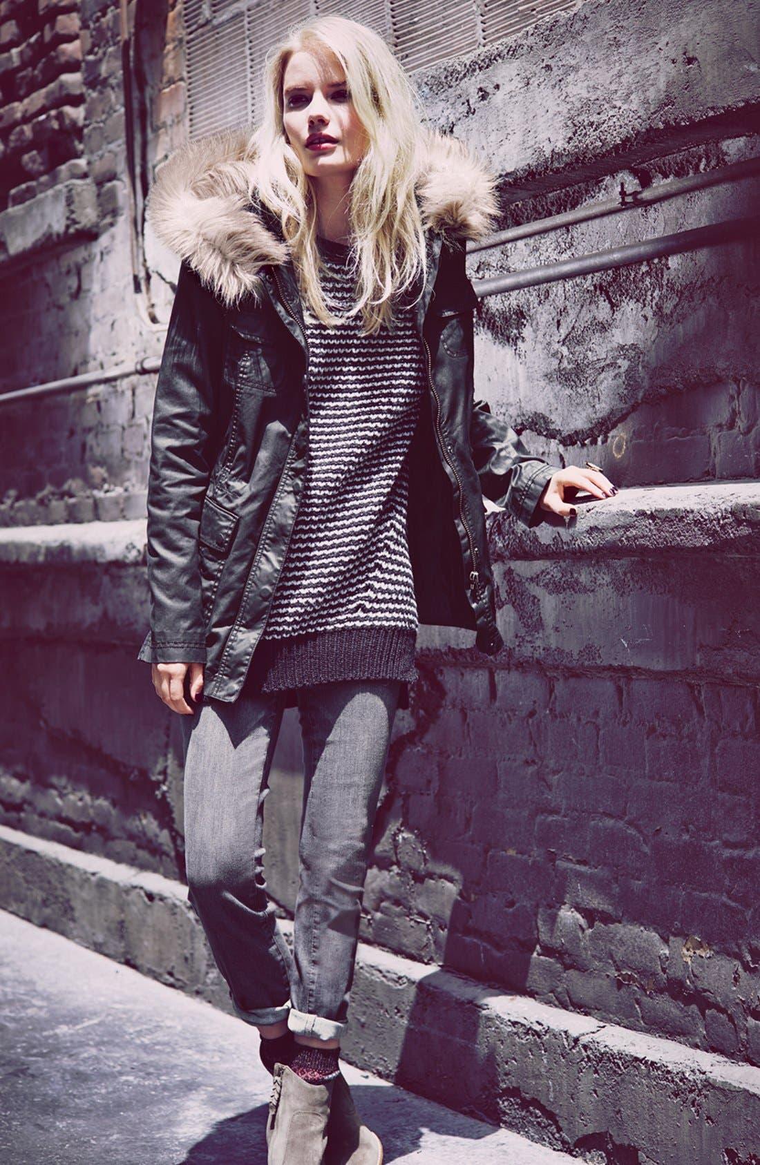 Alternate Image 2  - Caslon® Faux Fur Trim Parka (Regular & Petite)