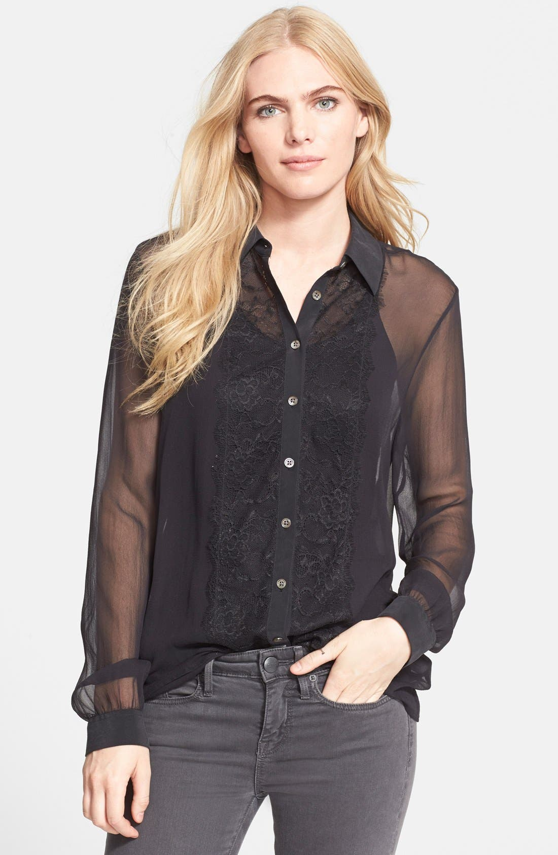 Alternate Image 1 Selected - Equipment 'Gabby' Lace Detail Blouse