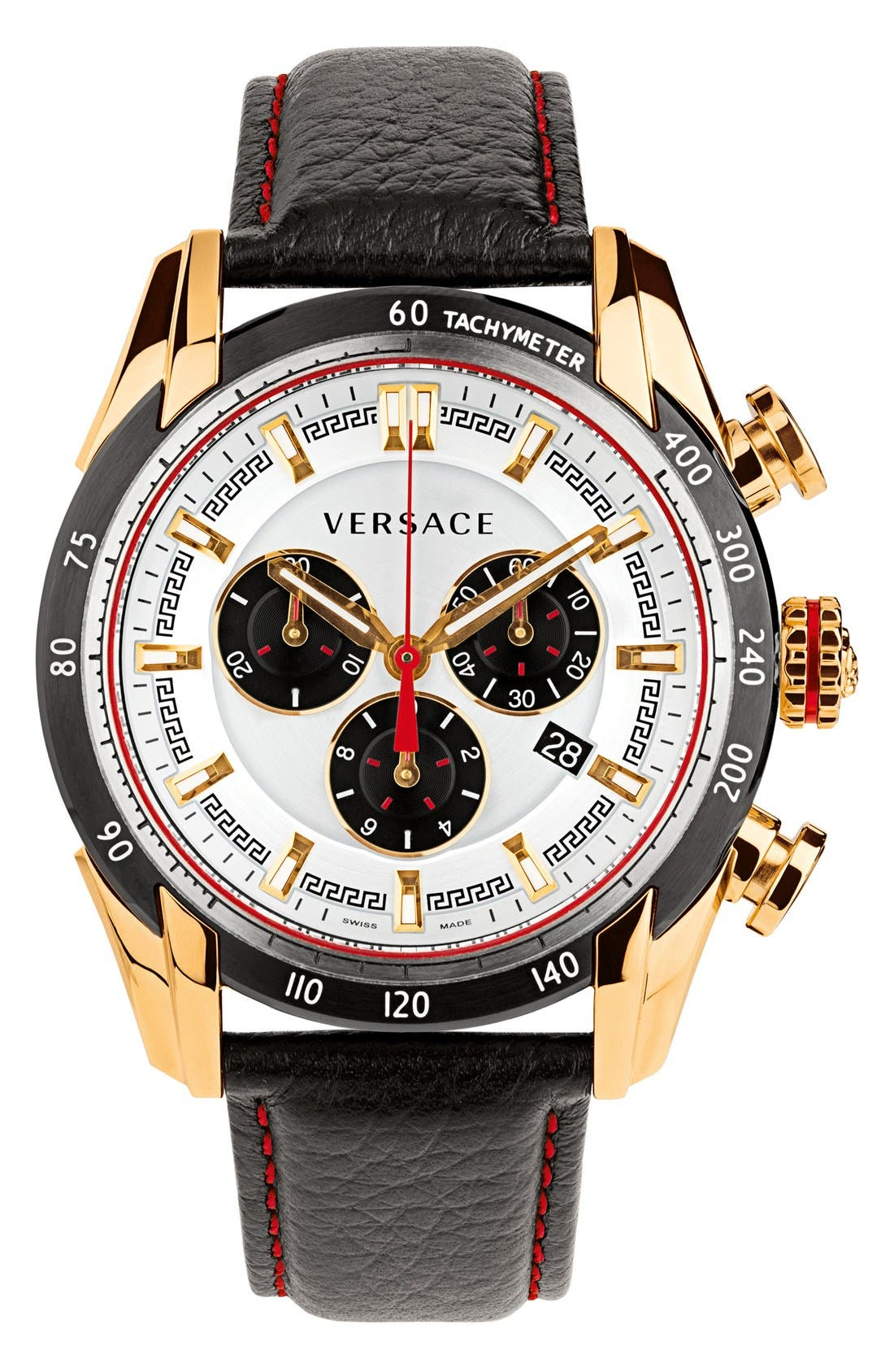 Alternate Image 1 Selected - Versace 'V-Ray' Chronograph Leather Strap Watch, 44mm