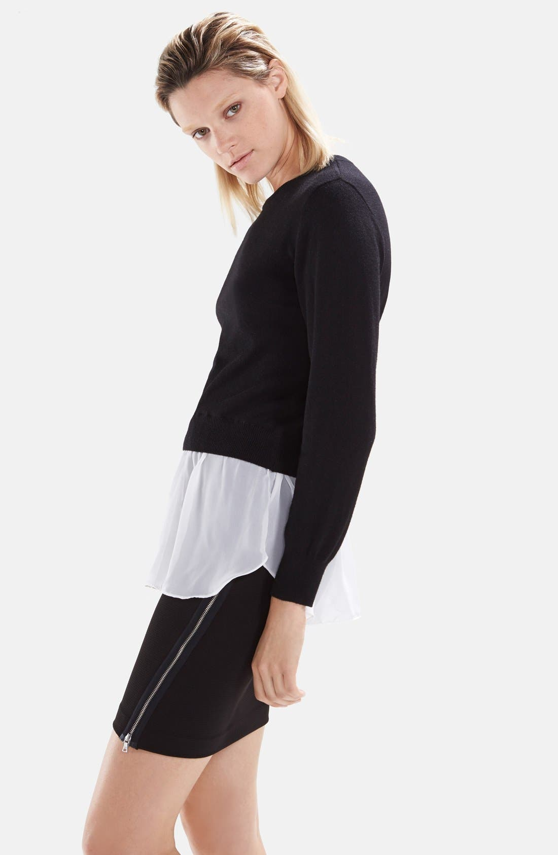 Alternate Image 3  - izzue Woven Hem Knit Pullover (Women)