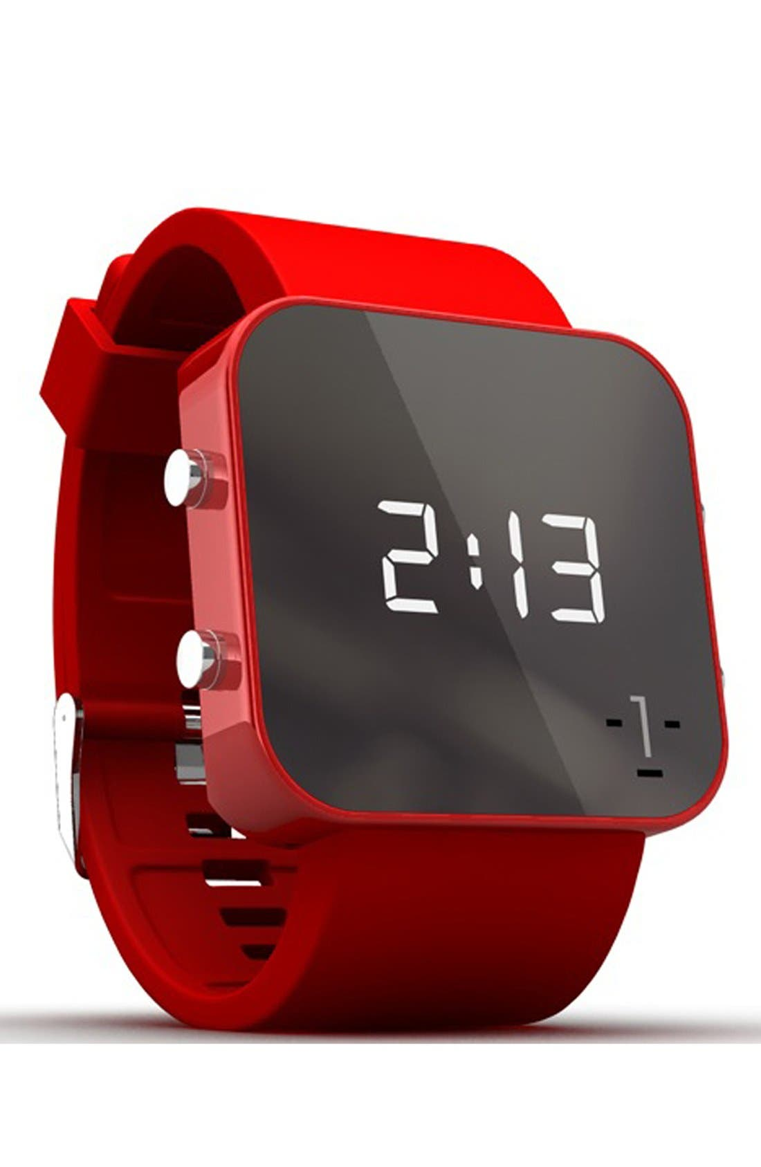 Alternate Image 2  - 1:Face 'AIDS' Square Digital Silicone Strap Watch, 38mm