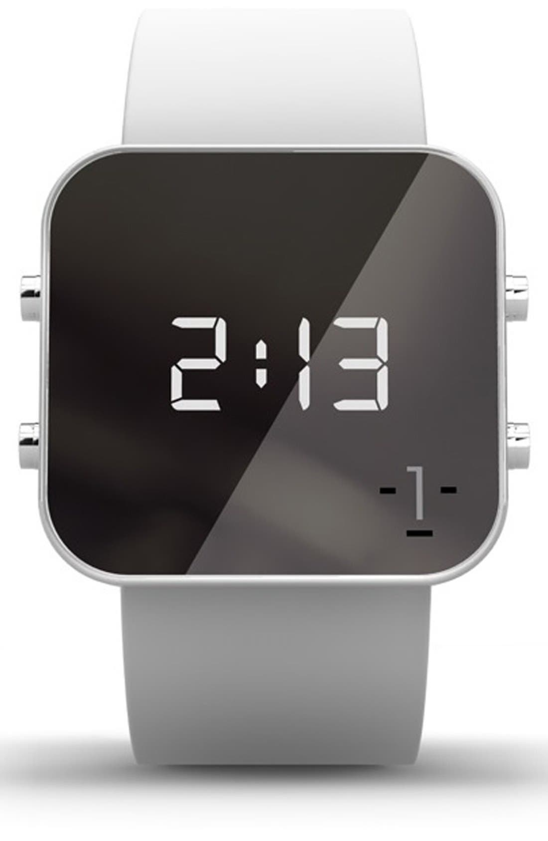 Alternate Image 1 Selected - 1:Face 'Hunger' Square Digital Silicone Strap Watch, 38mm