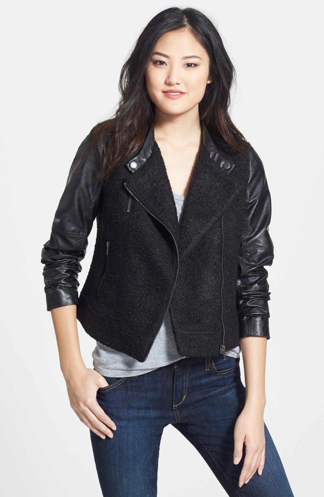 Alternate Image 1 Selected - Caslon® Faux Leather & Bouclé Moto Jacket