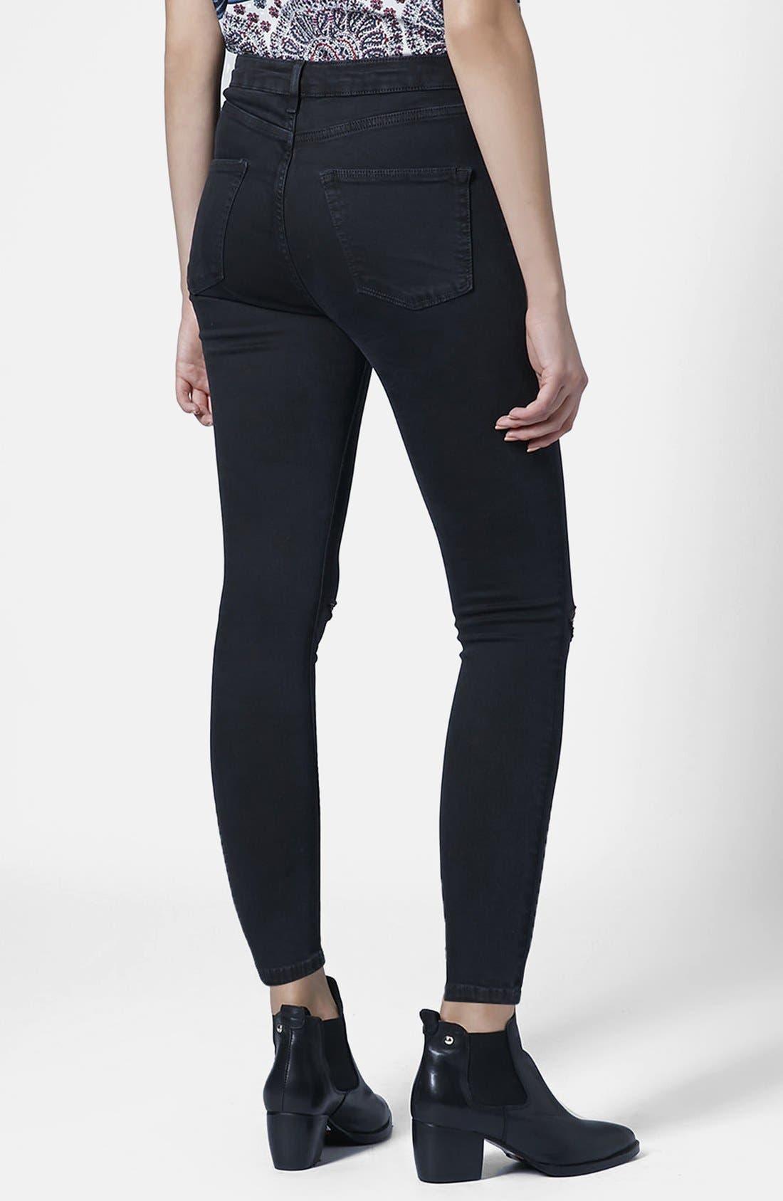 Alternate Image 2  - Topshop 'Jamie' Ripped Skinny Jeans (Petite)