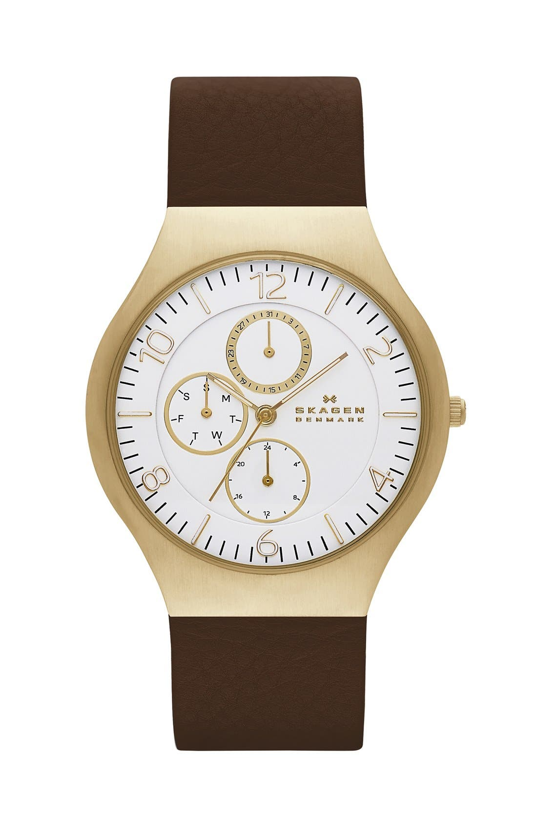 Alternate Image 1 Selected - Skagen 'Grenen' Multifunction Leather Strap Watch, 41mm