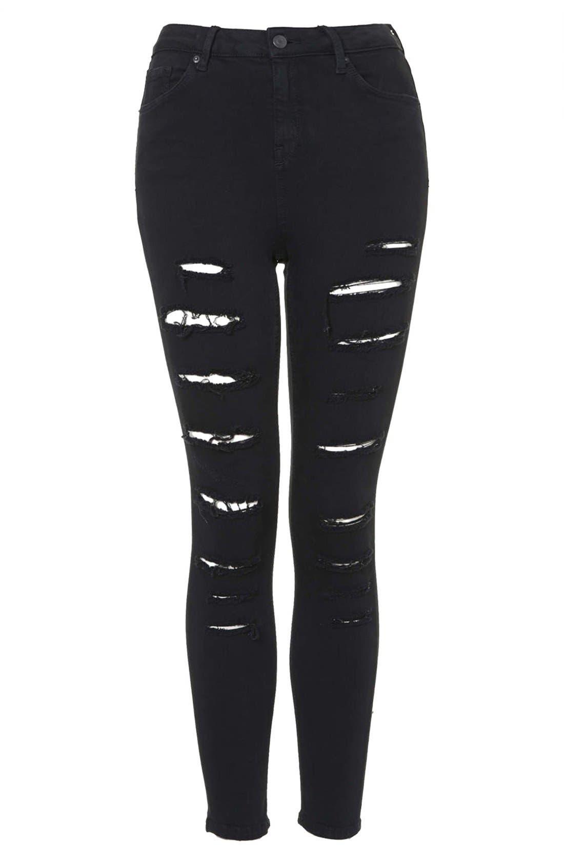 Alternate Image 3  - Topshop 'Jamie' Ripped High Rise Skinny Jeans (Black)