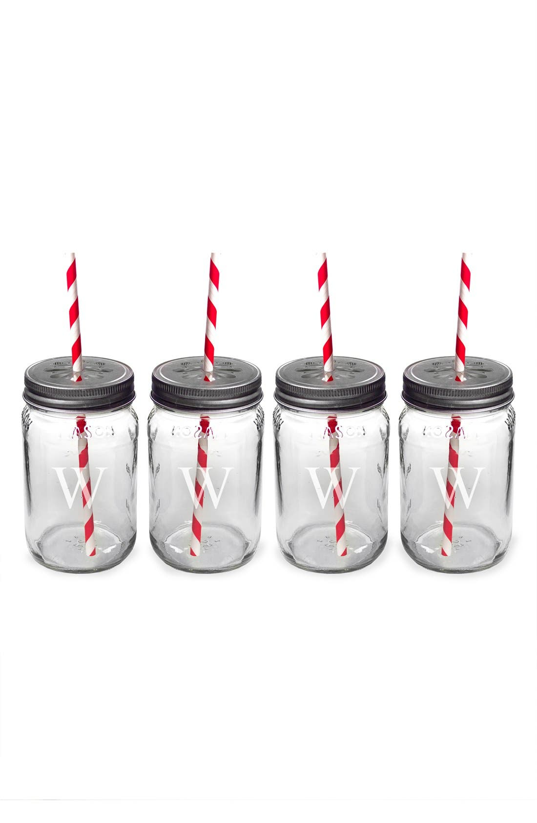 Alternate Image 2  - Cathy's Concepts Monogram Drinking Mason Jar Mugs (Set of 4)