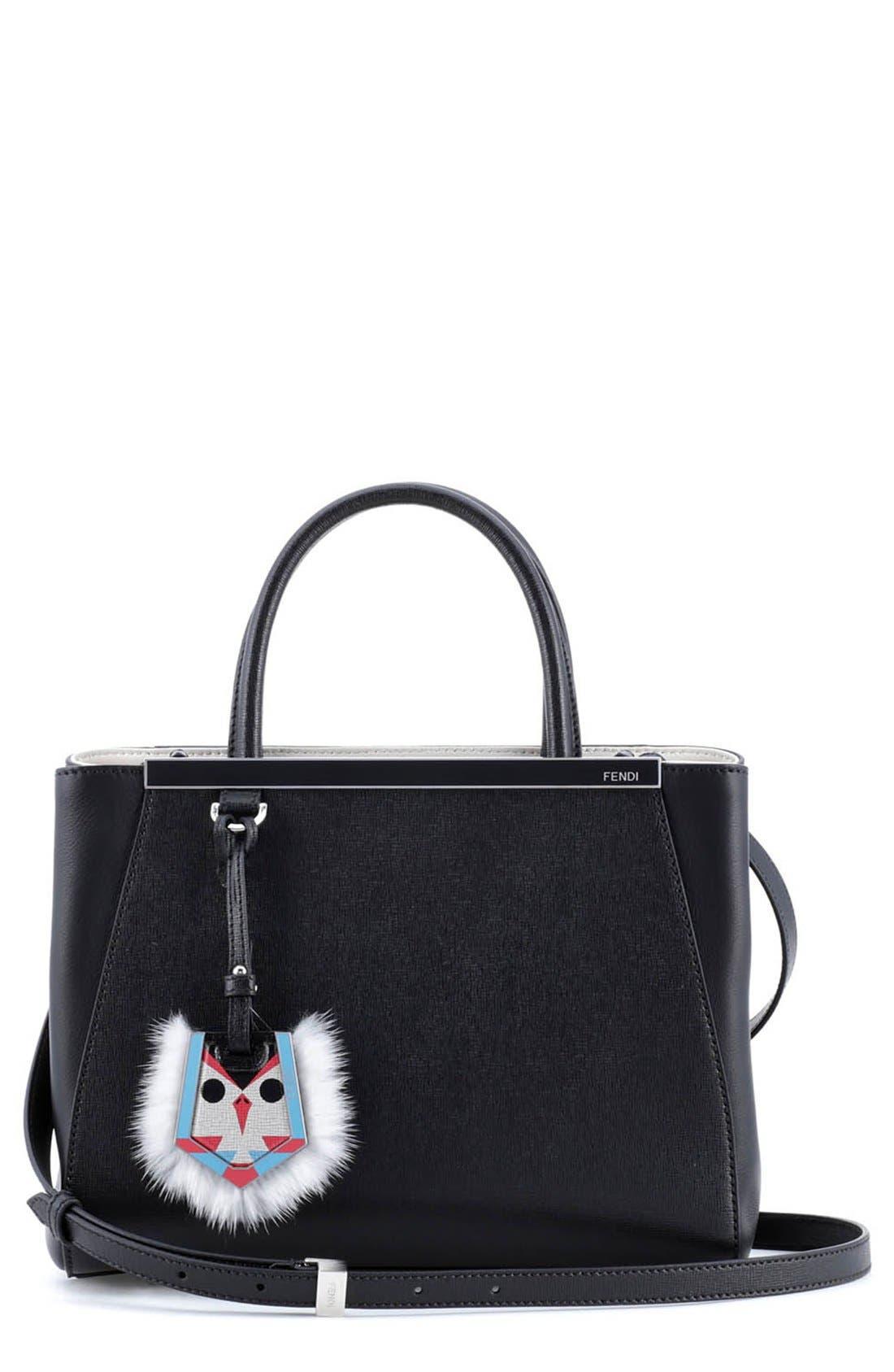 Main Image - Fendi 'Petite 2Jours' Leather Shopper with Genuine Mink Fur & Genuine Fox Fur Bird Charm