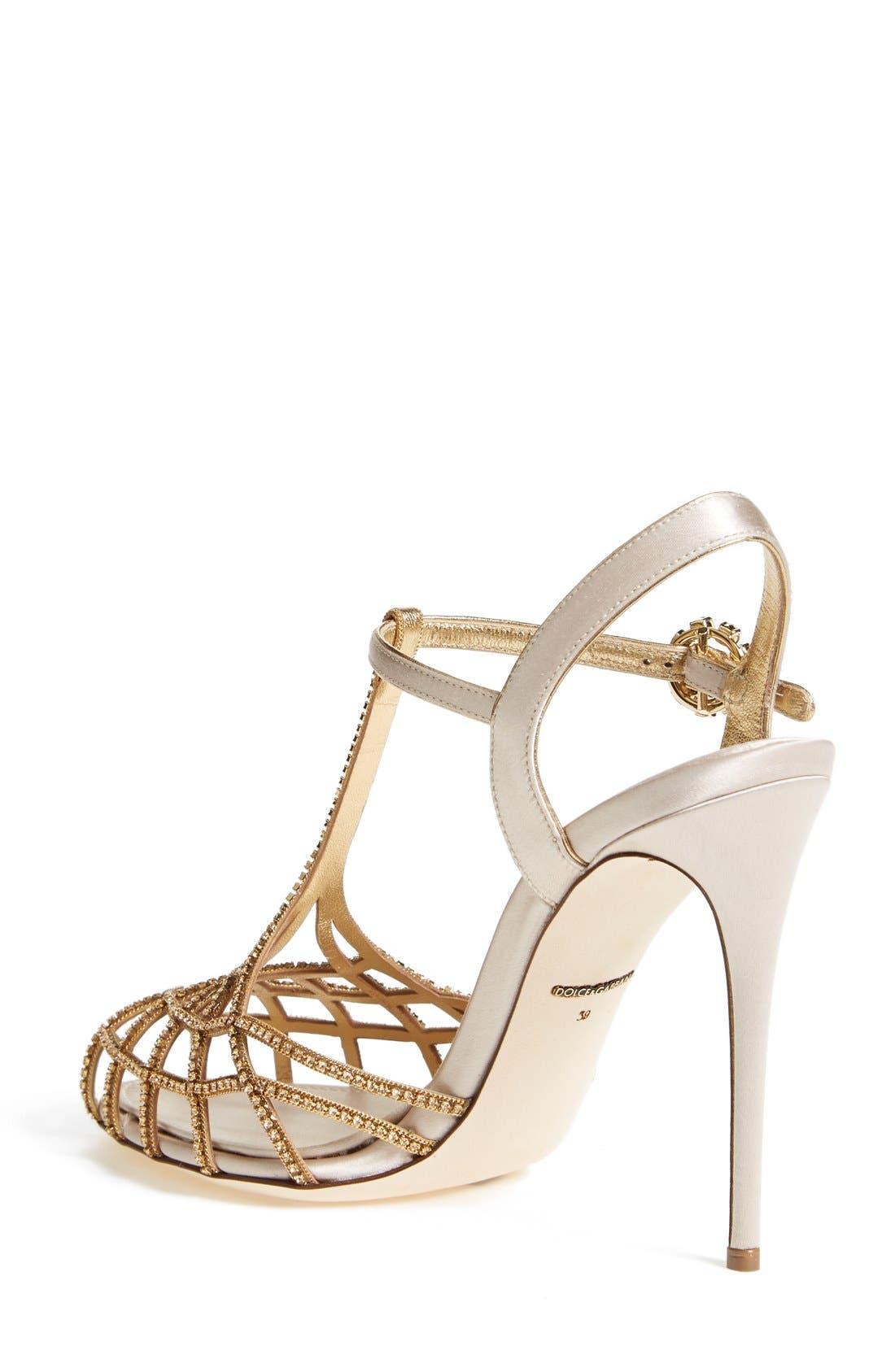 Alternate Image 2  - Dolce&Gabbana Crystal T-Bar Sandal (Women)