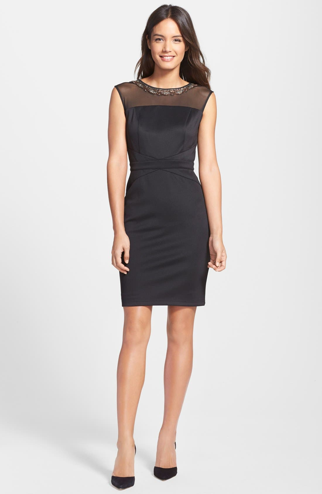 Alternate Image 3  - Ellen Tracy Beaded Scuba Sheath dress