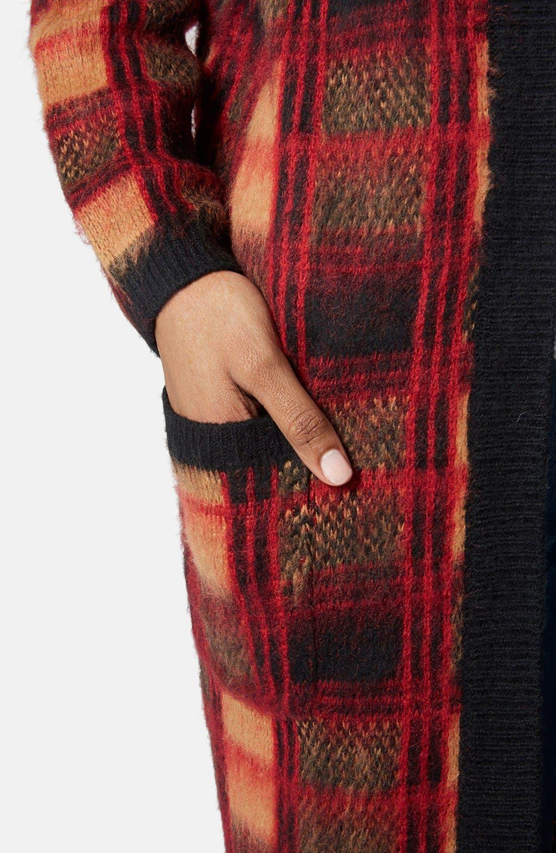 Alternate Image 4  - Topshop Brushed Check Long Cardigan