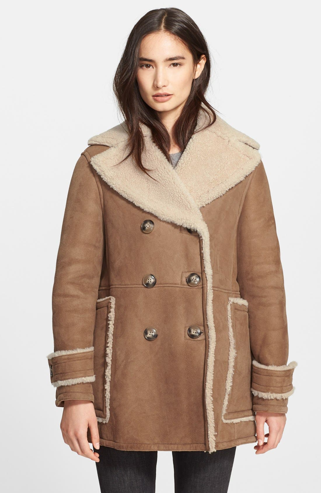 Alternate Image 3  - Burberry Brit 'Drakefield' Double Breasted Genuine Shearling Coat