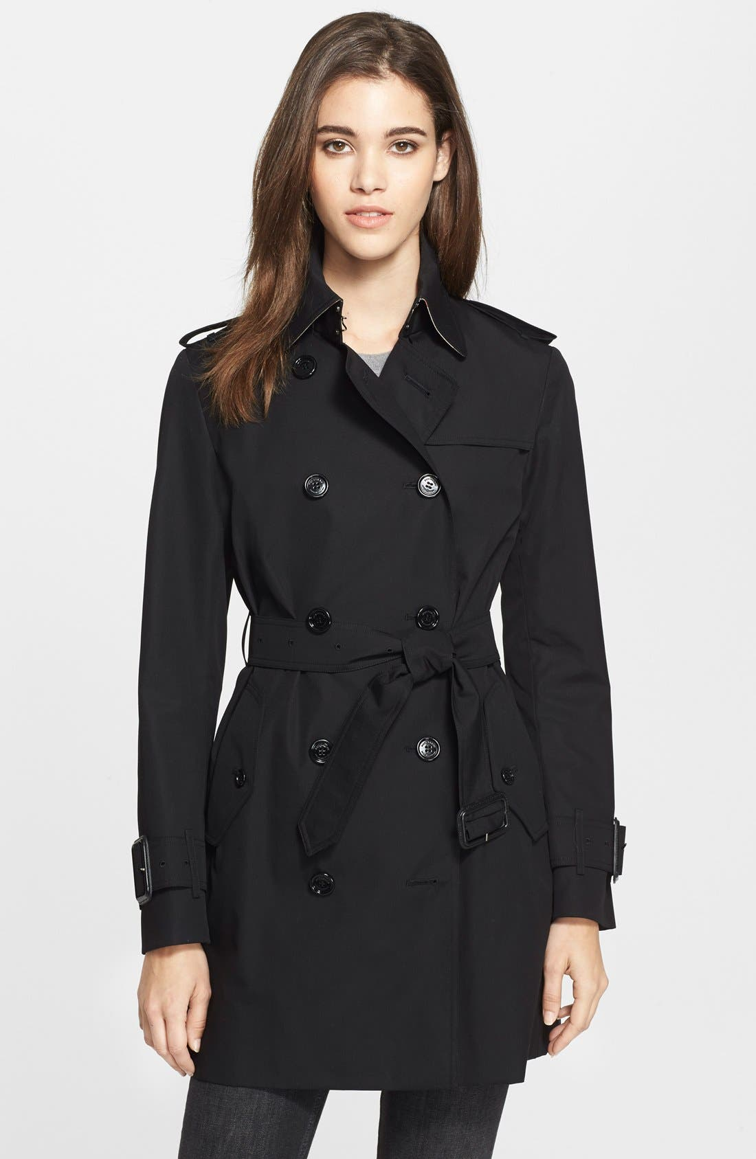 Main Image - Burberry Brit 'Marystow' Double Breasted Poplin Short Trench Coat
