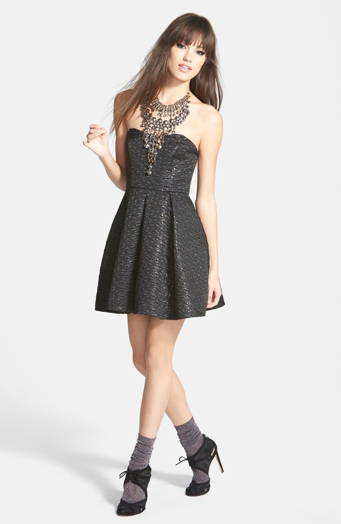 Alternate Image 4  - ASTR Strapless Jacquard Fit & Flare Dress