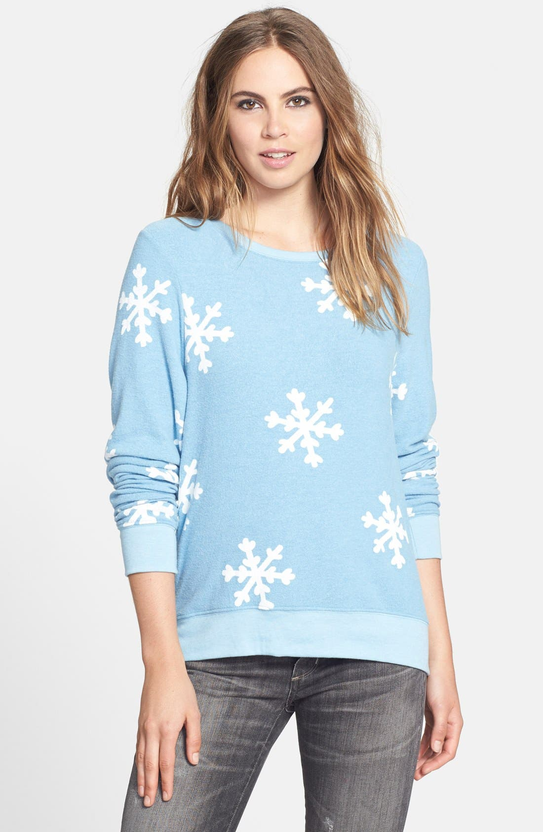 Main Image - Wildfox 'Snowflake' Baggy Beach Jumper Pullover