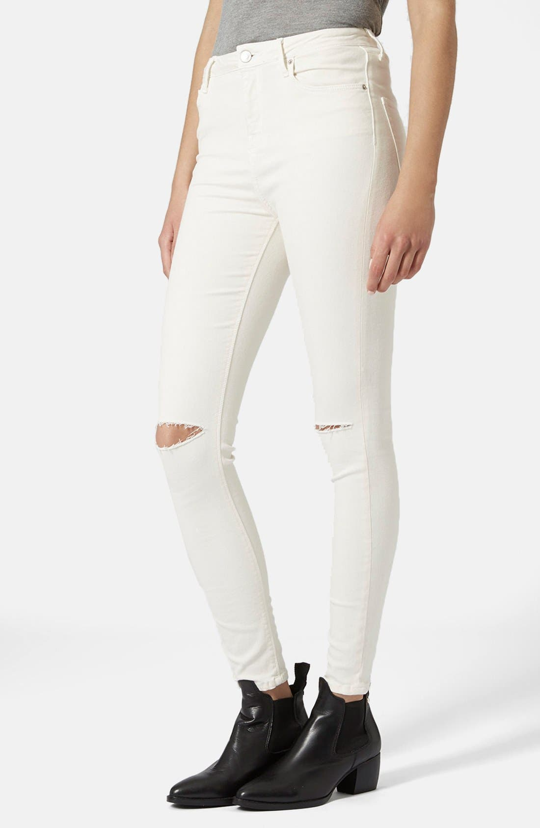 Main Image - Topshop Moto 'Jamie' Ripped Jeans (White)