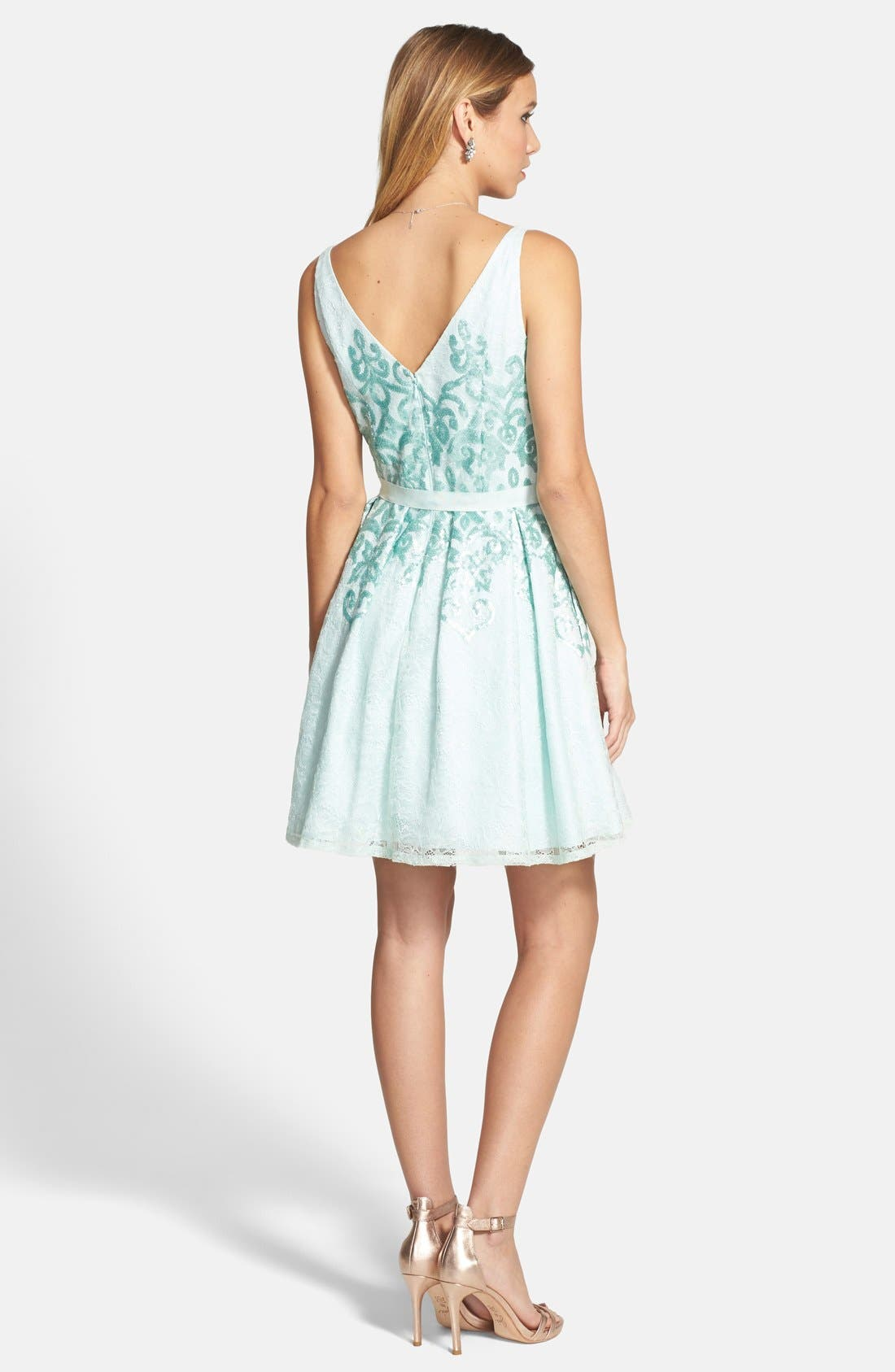 Alternate Image 2  - Hailey by Adrianna Papell Bow Detail Matte Sequin Fit & Flare Dress