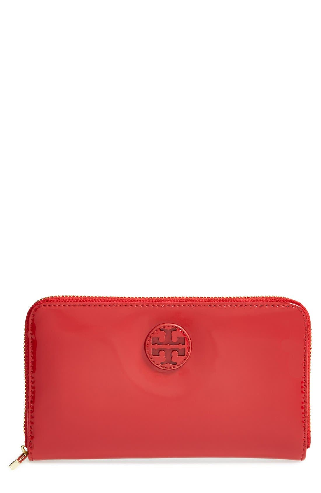 Alternate Image 1 Selected - Tory Burch Patent Leather Zip Around Wallet