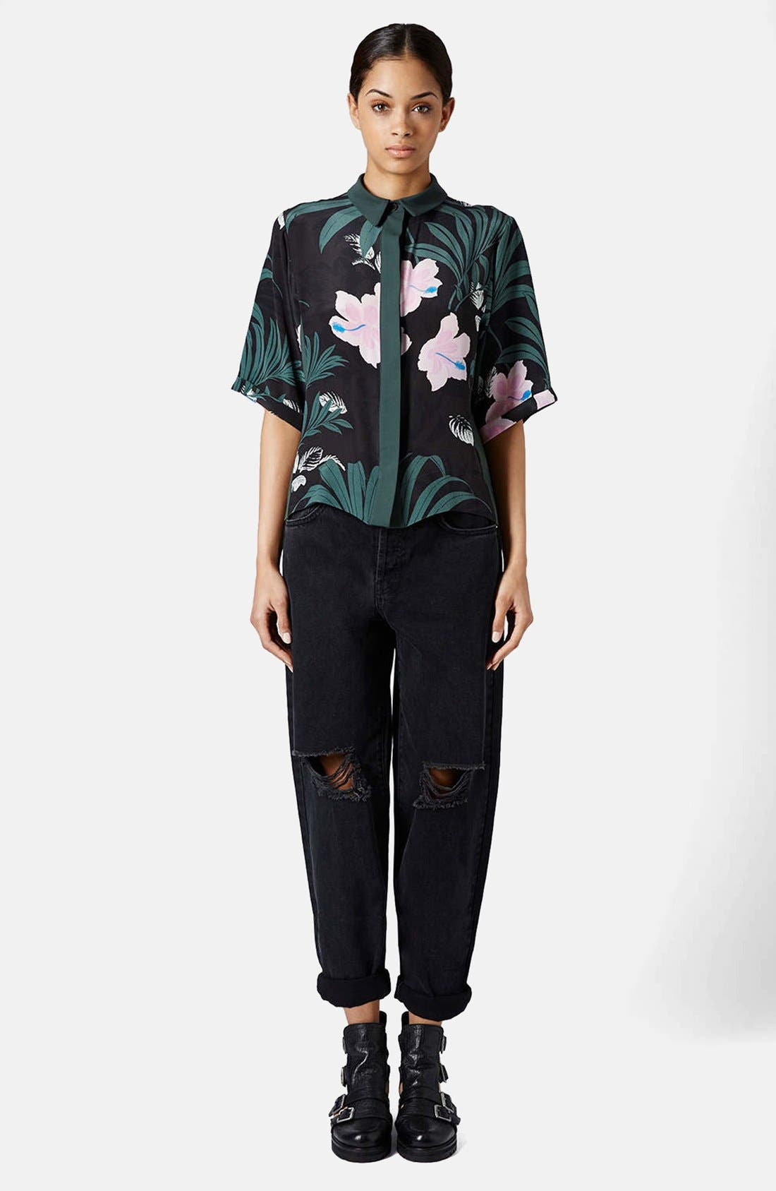 Alternate Image 6  - Topshop Boutique Ripped Baggy Jeans (Black)