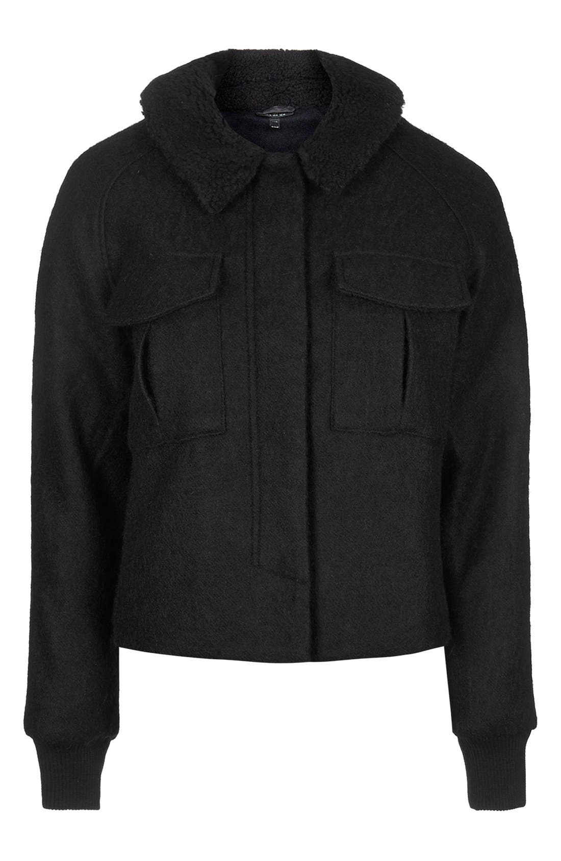 Alternate Image 3  - Topshop Faux Shearling Harrington Jacket