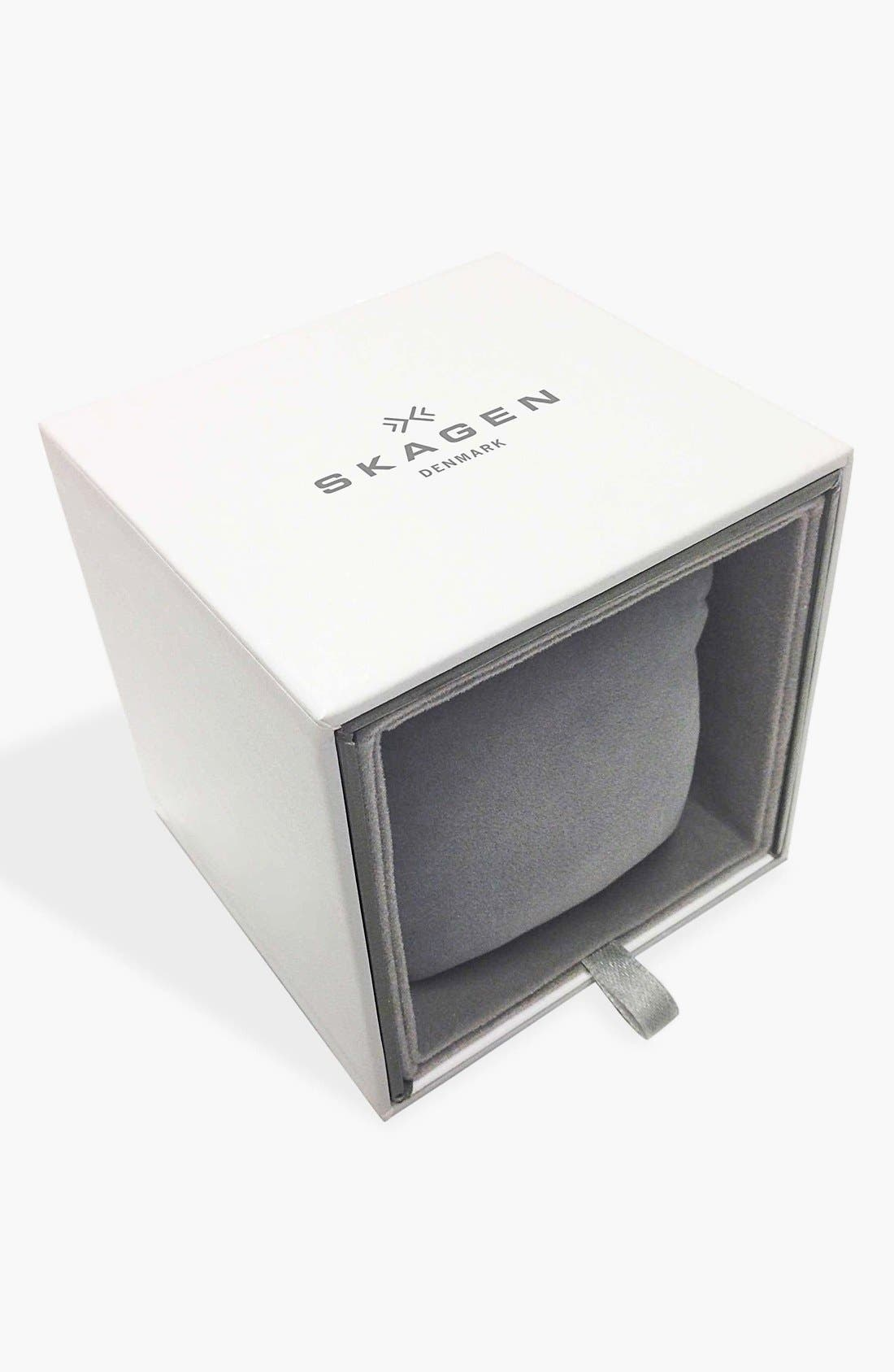Alternate Image 4  - Skagen 'Grenen' Crystal Marker Leather Strap Watch, 24mm