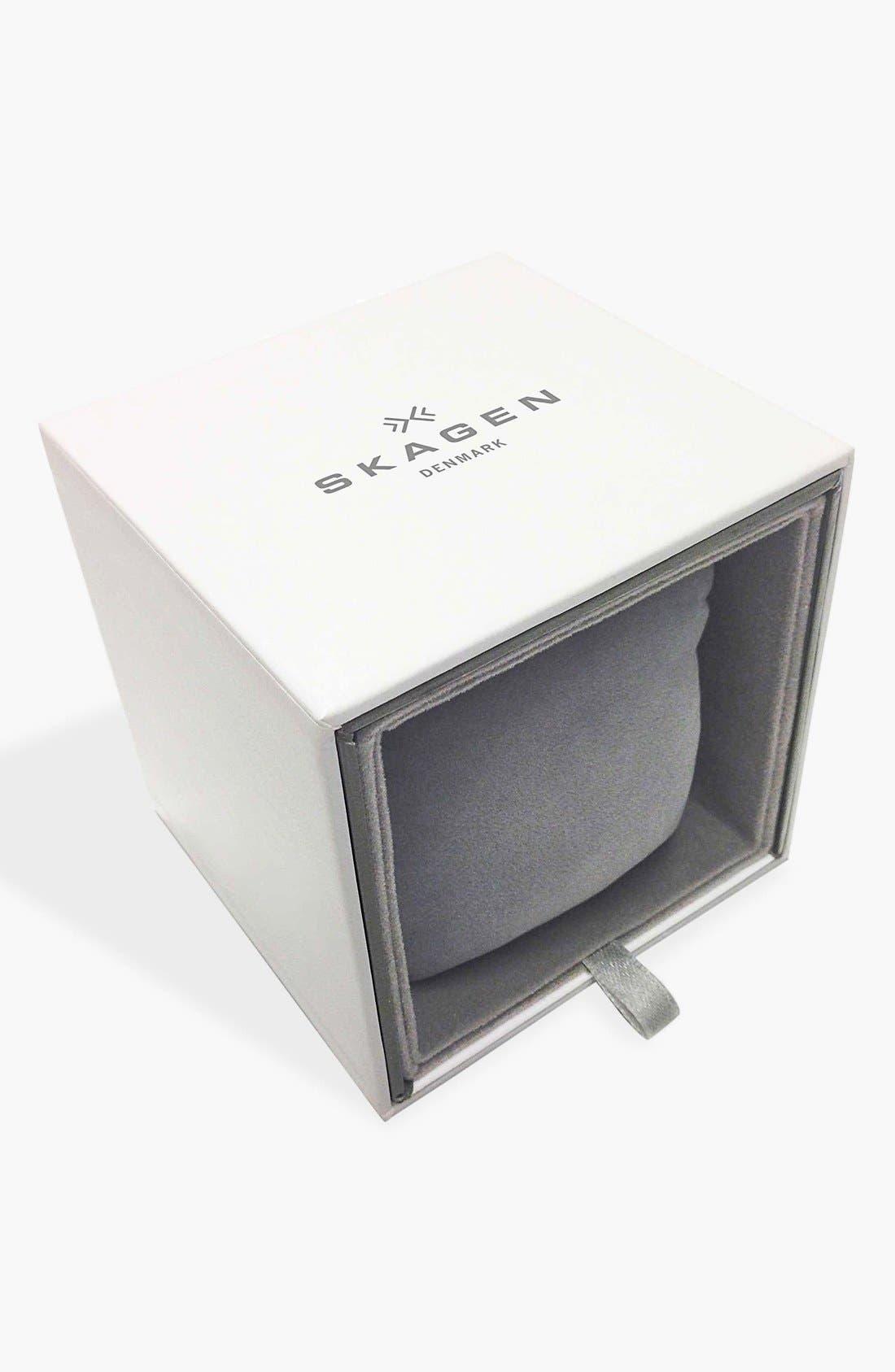 Alternate Image 3  - Skagen 'Gitte' Round Slim Leather Strap Watch, 38mm